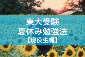 東大受験の夏休み勉強法 高3現役生